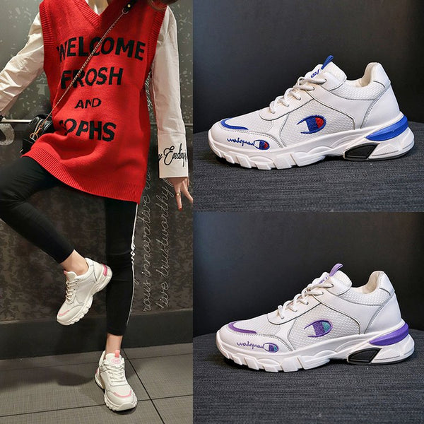 - NKLSA 2019 Autumn Women Shoes White Shoes Fashion Wild Platform Footwear Breathable Mesh Casual Shoes Sneakers Chaussures Femme - guiro - Zeinab Fashion