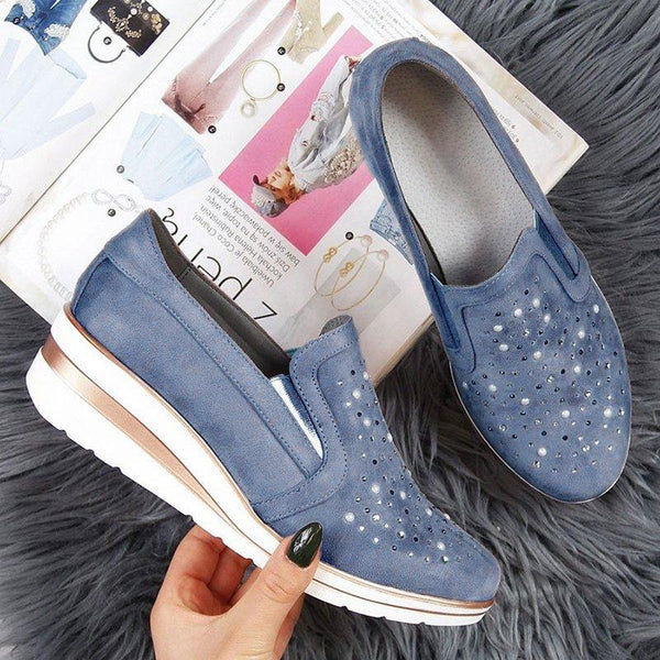 - LOOZYKIT New Autumn Fashion Women Casual Leather Flats Women Platform Sneakers Creepers Cutouts Slip On Flats Moccasins Shoes - guiro - Zeinab Fashion