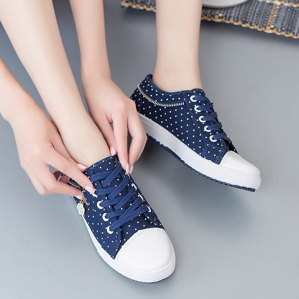 - Zipper lace-up women sneakers Canvas casual shoes woman 2019 new breathable solid polka dot sneakers women shoes plus size - guiro - Zeinab Fashion