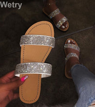 Load image into Gallery viewer, ,Dimond women slippers summer crystal Hollow flat Slide ladies open toe Comfort slip on Outdoor beach sandals woman shoes,guiro,Zeinab Fashion.