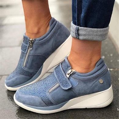 ,Laamei 2019 New Arrival Flock New High Heel Lady Casual Women Sneakers Leisure Platform Shoes Breathable Height Increasing Shoes,guiro,Zeinab Fashion.