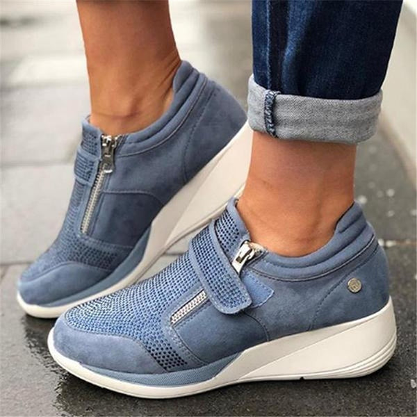 - Laamei 2019 New Arrival Flock New High Heel Lady Casual Women Sneakers Leisure Platform Shoes Breathable Height Increasing Shoes - guiro - Zeinab Fashion