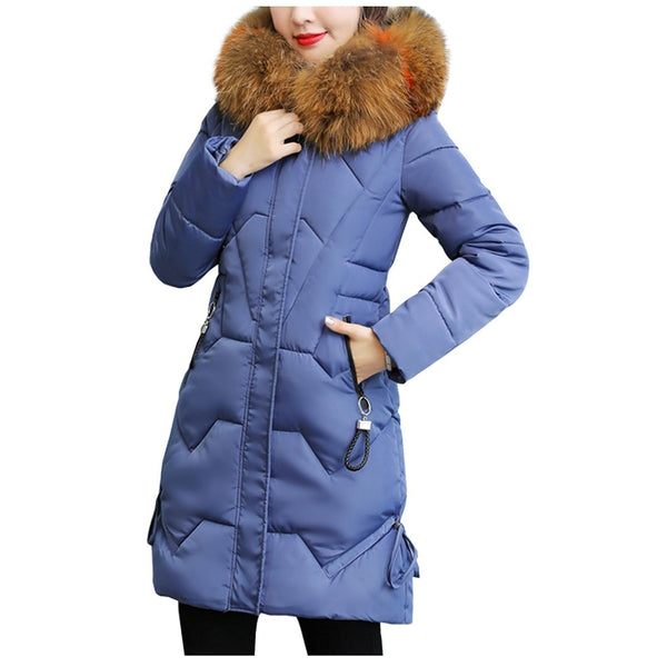 US/&R Women 4 Color Geo Pattern Zip Up Stand Collar Quilted Long Down Jacket