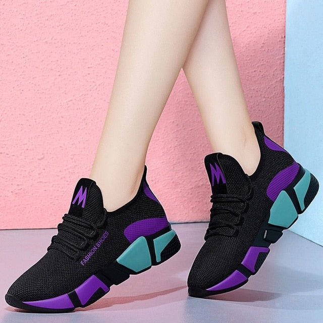 - 2019 Spring New Women casual shoes fashion breathable lightweight Walking mesh lace up flat shoes sneakers women - guiro - Zeinab Fashion