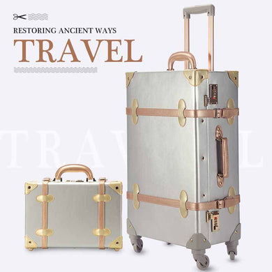 Luggage - Retro Spinner Rolling Luggage Set Travel Bag Trolley Women Suitcase Wheels Vintage Cabin Trunk - guiro - Zeinab Fashion