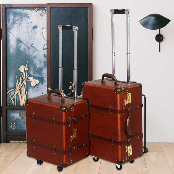 Luggage - Brown Retro Spinner Rolling Luggage Women Trolley Storage PU Leather Suitcase Wheels Vintage Cabin Travel Bag - guiro - Zeinab Fashion