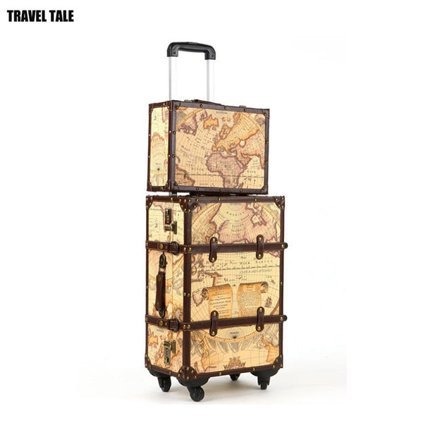 Luggage - Maleta Vintage Suitcase Spinner Leather Coffers Trolley Luggage Organizer - guiro - Zeinab Fashion