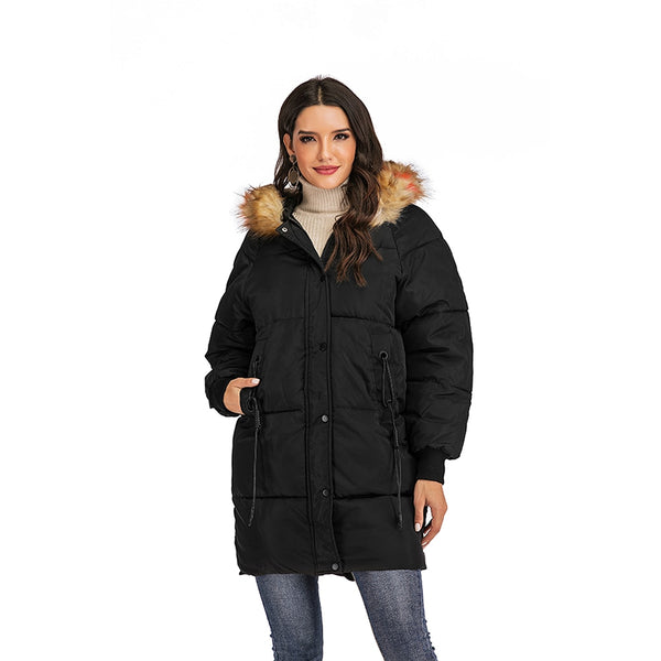 Long Winter Coats Women Parkas Hooded Warm Parka Ladies Outwear Female Winter Jackets Zipper Warm Thick Cotton Coats Parkas
