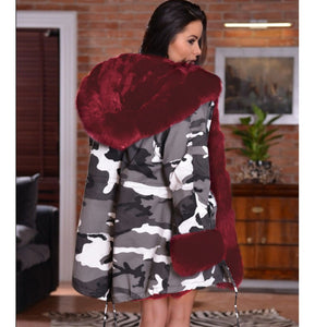 ,Fall Winter Warm Camouflage Coat Fashion With Cap Big Fur Collar Slim Thick Parka Women Outwear With Pockets Long Coat Jackets,guiro,Zeinab Fashion.