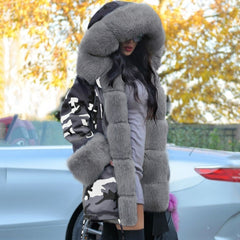 Fall Winter Warm Camouflage Coat Fashion With Cap Big Fur Collar Slim Thick Parka Women Outwear With Pockets Long Coat Jackets