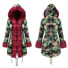 Load image into Gallery viewer, ,Fall Winter Warm Camouflage Coat Fashion With Cap Big Fur Collar Slim Thick Parka Women Outwear With Pockets Long Coat Jackets,guiro,Zeinab Fashion.