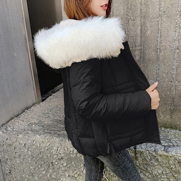 Fall Winter Cotton Casual Fur Warm Hooded Coat Fashion Women Solid Winter Autumn Faux Hooded Warm Coat Jacket Overcoat Outwear