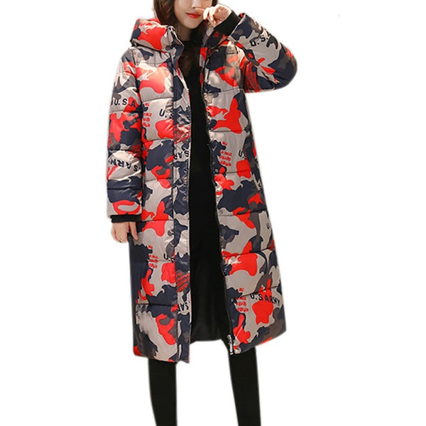 Women's Parkas Women Winter Warm Print Coat Stand Neck Thick Warm Slim Fashion Long Jacket Overcoat For Girls