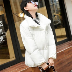 Thicken Women Pakas Turtleneck Loose White Feather Jackets Winter Female Warm Padded Fall Winter Coats Outwear For Girls