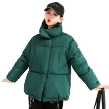 Load image into Gallery viewer, ,Thicken Women Pakas Turtleneck Loose White Feather Jackets Winter Female Warm Padded Fall Winter Coats Outwear For Girls,guiro,Zeinab Fashion.