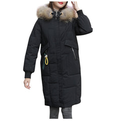Women Fall Winter Hooded Coat Casual Outwear Fashion Women Winter Warm Coat Hooded Thick Warm Slim Jacket Long Overcoat