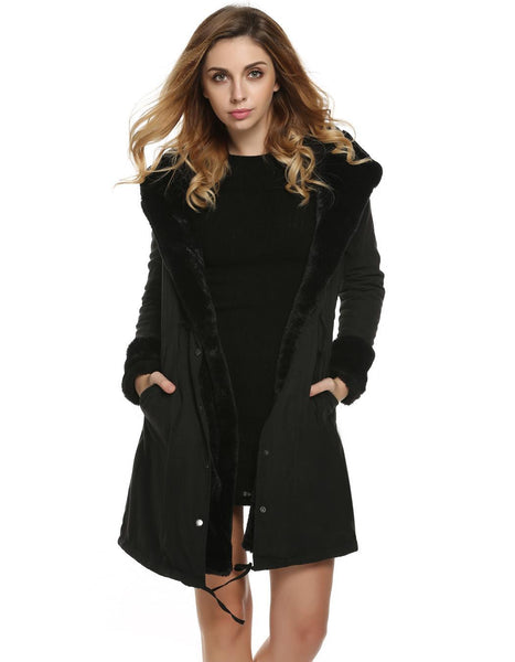 Stylish Ladies Women Lady Hooded Fall Winter Jacket Warm Thick Faux Fur Coat Parka Long Outerwear Overcoat