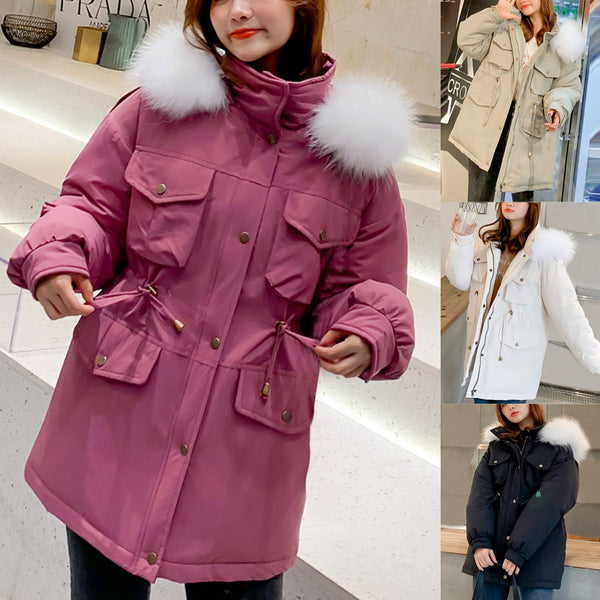 Warm Casual Plus Size Overcoat Winter Jacket Fashion Women Winter Warm Hooded  Cotton  Winter Jacket Solid Long-Sleeved Coat
