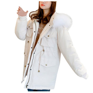 ,Warm Casual Plus Size Overcoat Winter Jacket Fashion Women Winter Warm Hooded  Cotton  Winter Jacket Solid Long-Sleeved Coat,guiro,Zeinab Fashion.