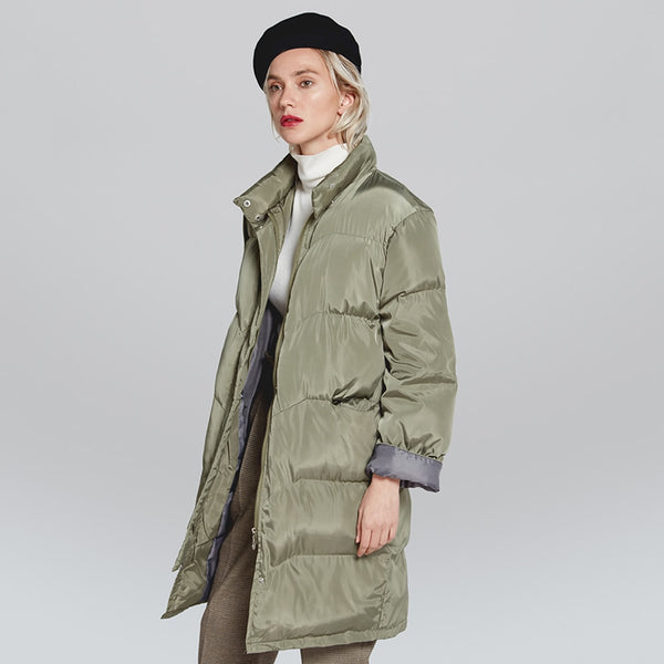 Fashion Women Solid Slim Long For Women's Cotton Slim Down Parka With Pockets Winter Jacket Fall Coat For Girls