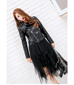 ,Spring Fringed Black Leather Jacket Lady Long Sleeve Big Lapel Faux Leather PU Tassel Coats Winter Jackets For Girls,guiro,Zeinab Fashion.