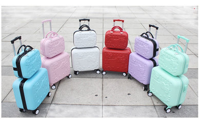 ,Girls Cute 14 16 abs Hello Kitty Travel Luggage Sets, High Quality Female Lovely Travel Luggage Suitcase On Wheels,guiro,Zeinab Fashion.