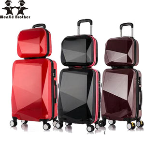 ,wenjie brothernew 2PCS/SET shinning 14inch+20inch Cosmetic bag men and women trolley case Travel luggage woman rolling suitcase,guiro,Zeinab Fashion.
