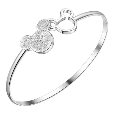 ,2017 Hot Sales Silver Color Mickey Shape Charm Bangles & Bracelet Women Fashion Jewelry Christmas Gifts Good Quality pulseira,guiro,Guiro.