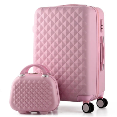 - 14+20 Inch,Woman Travel Case Suitcases,diamond Luggage Travel Bag,ABS Travel Luggage,Rolling Luggage,Suitcase On Wheels - guiro - Zeinab Fashion