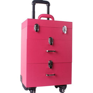 - KUNDUI Luggage suitcase professional Manicure Trolley Caster with brake Pu new aluminum Travel Bags case makeup cosmetic box - guiro - Zeinab Fashion