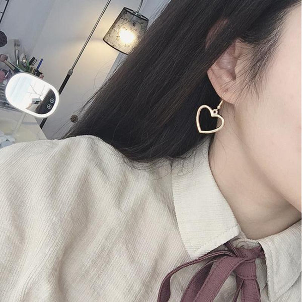 - 2017 New Hollow Geometry Earrings Heart Sweet Gold Love Earrings Women Gifts Jewelry Orecchini Brincos Pendientes Oorbellen - guiro - Guiro