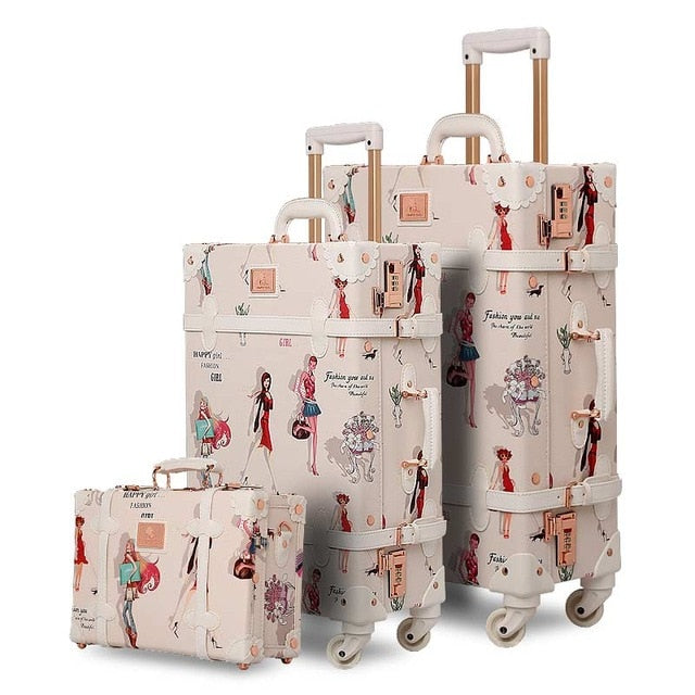 - Fashion Girl Retro Rolling Luggage Bagages Pu Suitcase Set Trunk Vintage Luggages With Spinner Wheels for Women - guiro - Zeinab Fashion