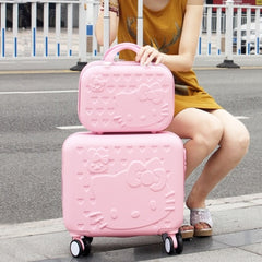 - Girls Cute 14 16 abs Hello Kitty Travel Luggage Sets, High Quality Female Lovely Travel Luggage Suitcase On Wheels - guiro - Zeinab Fashion