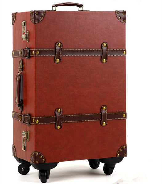 - KUNDUI 14,20,24 inch Women Vintage rolling Luggage Sets PU Travel Suitcases,universal wheel Spinner Trolley Bags girls set Bag - guiro - Zeinab Fashion
