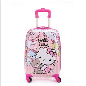 ,16 inch Kid's Lovely Travel Luggage, Children Hello Kitty Trolley Luggage With Universal Wheel, Pink Suitcase,guiro,Zeinab Fashion.