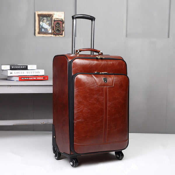 - 16 INCH PU Leather Trolley Luggage Business Trolley Case Men's Suitcase Travel Luggage Rolling koffers trolleys - guiro - Zeinab Fashion