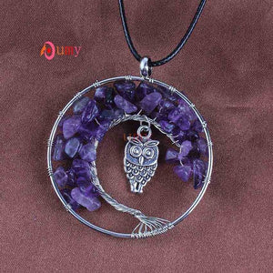- Kraft-beads Silver Plated Natural Amethysts Rose Pink Quartz Owl Tree of Life Pendant Amulet Necklace Rock Crystal Jewelry - guiro - Shop Worldly