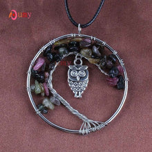 Load image into Gallery viewer,  - Kraft-beads Silver Plated Natural Amethysts Rose Pink Quartz Owl Tree of Life Pendant Amulet Necklace Rock Crystal Jewelry - guiro - Shop Worldly