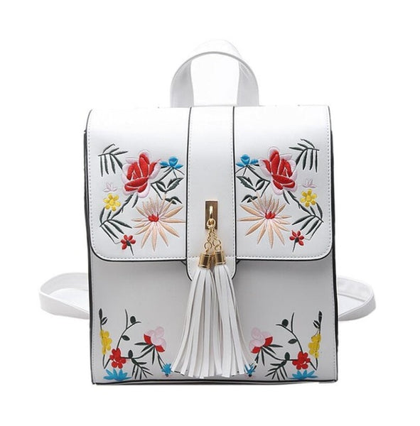 - High Quality PU Embroidery Backpack School Bags For Teenagers Casual Black Trave Backpack Women Mochila Sac A Dos Femme LL1 - guiro - Zeinab Fashion