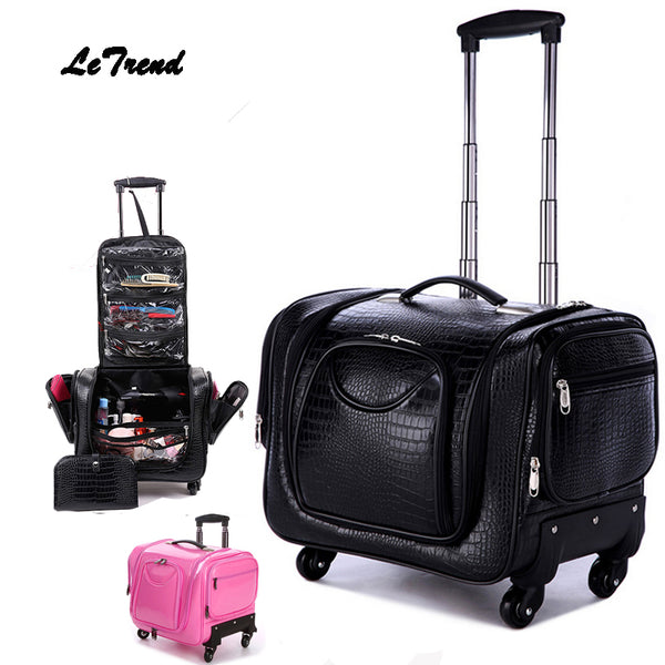 - Letrend Crocodile Rolling Luggage Spinner Women Cosmetic Case Multi-function Trolley Carry On Suitcases Wheel Cabin Travel Bag - guiro - Zeinab Fashion