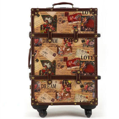 - 14 20 24inch suitcase HardShell PU leather+Wood 4 Wheels A set Travel Trolley Painting Cabin Luggage Retro board chassis lockbox - guiro - Zeinab Fashion