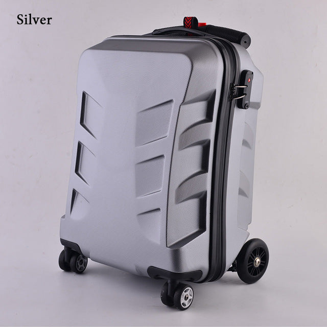 - New Designe 21inch TSA Lock Scooter Luggage Aluminum Suitcase With Wheels Skateboard Rolling Luggage Travel Trolley Case - guiro - Zeinab Fashion