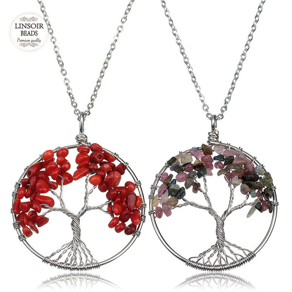 - LINSOIR 2018 7 Chakra Tree Of Life Pendant Necklace Women Natural Stone Crystal Amethysts Agates Rose Quartzs Chain Necklace - guiro - Shop Worldly