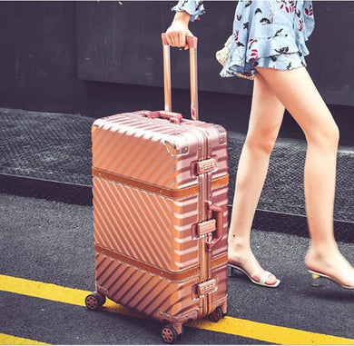 Luggage,Vintage Rolling Luggage Suitcase Carry On Luggage Aluminum Frame Travel Trolley Sheepskin Belt Box,guiro,Zeinab Fashion.