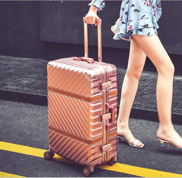 Luggage - Vintage Rolling Luggage Suitcase Carry On Luggage Aluminum Frame Travel Trolley Sheepskin Belt Box - guiro - Zeinab Fashion