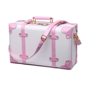 ,Trolley Cute Pink Suitcase Wheels Cosmetic Case Women Vintage Leather Travel Bag Retro Password Box Cabin Luggage,guiro,Zeinab Fashion.