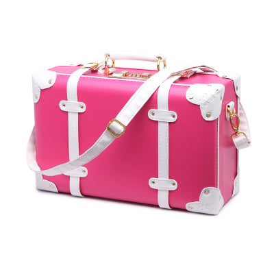 - Trolley Cute Pink Suitcase Wheels Cosmetic Case Women Vintage Leather Travel Bag Retro Password Box Cabin Luggage - guiro - Zeinab Fashion