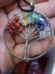 - Tree of life pendant Amethyst Rose Crystal Necklace Gemstone Chakra Jewelry Mothers Day Gifts - guiro - Shop Worldly