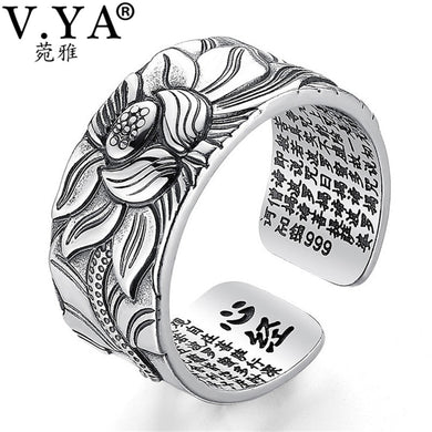 ,V.YA 100% Real 999 Pure Silver Jewelry Lotus Flower Open Ring For Men Male Fashion Free Size Buddhistic Heart Sutra Rings Gifts,guiro,Guiro.