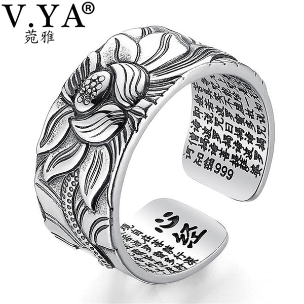 - V.YA 100% Real 999 Pure Silver Jewelry Lotus Flower Open Ring For Men Male Fashion Free Size Buddhistic Heart Sutra Rings Gifts - guiro - Guiro